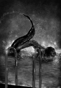 """Иллюстрация к рассказу """"Ночной пловец"""" из антологии """"Самая Страшная Книга: Лучшее"""""""