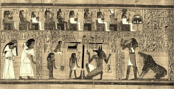 Книга Мертвых Ани. Сверху изображены судьи-присяжные - боги египетского пантеона. Справа внизу — пожирательница Амамат, которая в рассказе пробудилась из статуи Сехмет.